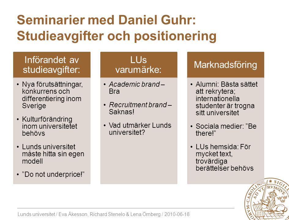 Lunds universitet / Eva Åkesson, Richard Stenelo & Lena Örnberg / 2010-06-18 Seminarier med Daniel Guhr: Studieavgifter och positionering Införandet a