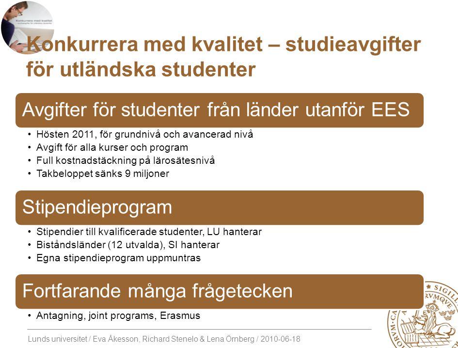 Lunds universitet / Eva Åkesson, Richard Stenelo & Lena Örnberg / 2010-06-18 Konkurrera med kvalitet – studieavgifter för utländska studenter Avgifter