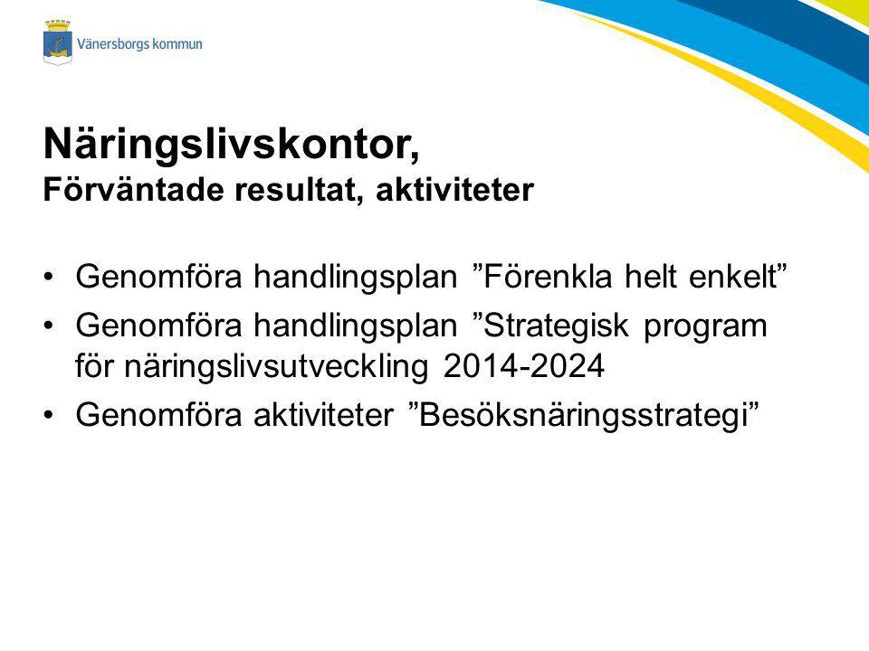 Näringslivskontor, Förväntade resultat, aktiviteter Genomföra handlingsplan Förenkla helt enkelt Genomföra handlingsplan Strategisk program för näringslivsutveckling 2014-2024 Genomföra aktiviteter Besöksnäringsstrategi