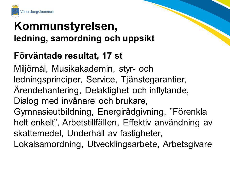 Kommunstyrelsen, ledning, samordning och uppsikt Förväntade resultat, 17 st Miljömål, Musikakademin, styr- och ledningsprinciper, Service, Tjänstegara