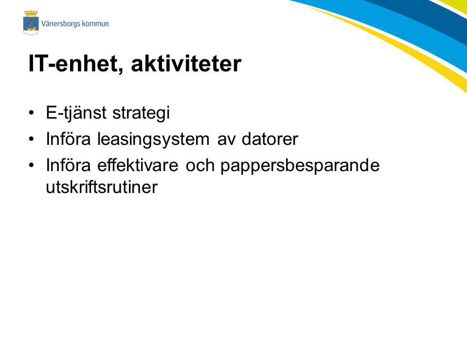 IT-enhet, aktiviteter E-tjänst strategi Införa leasingsystem av datorer Införa effektivare och pappersbesparande utskriftsrutiner
