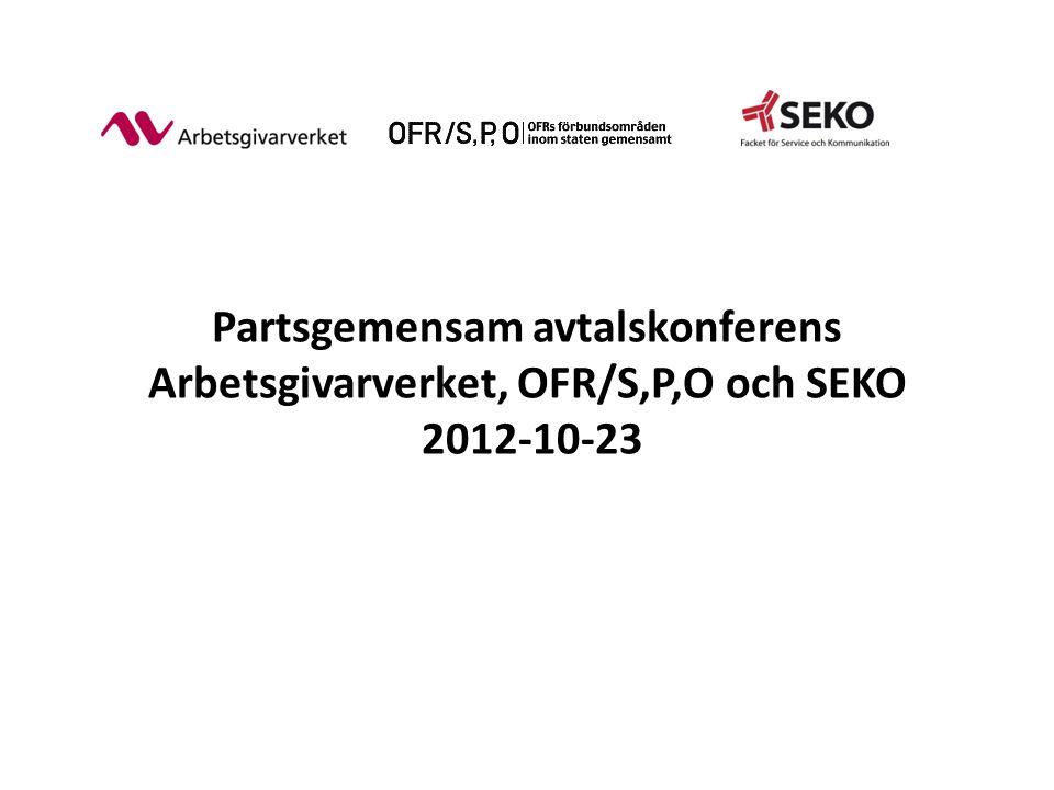 Partsgemensam avtalskonferens Arbetsgivarverket, OFR/S,P,O och SEKO 2012-10-23