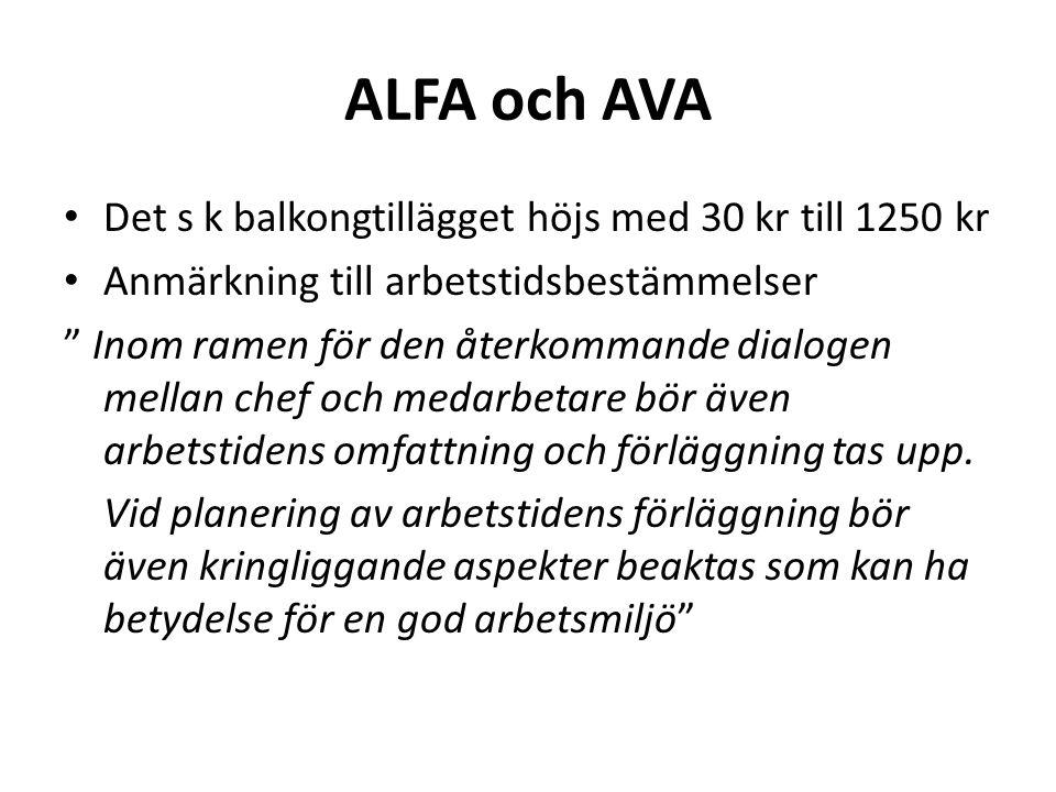 """ALFA och AVA Det s k balkongtillägget höjs med 30 kr till 1250 kr Anmärkning till arbetstidsbestämmelser """" Inom ramen för den återkommande dialogen me"""