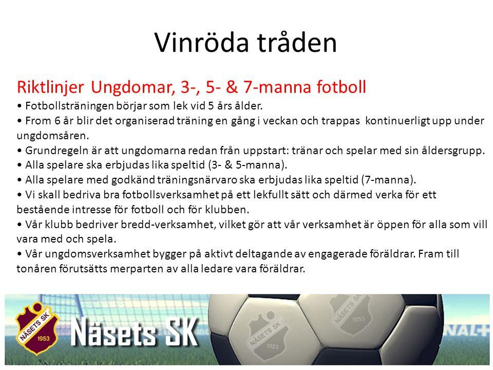 Riktlinjer Ungdomar, 3-, 5- & 7-manna fotboll Fotbollsträningen börjar som lek vid 5 års ålder. From 6 år blir det organiserad träning en gång i vecka
