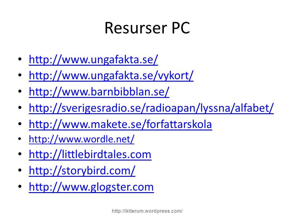 Resurser PC http://www.ungafakta.se/ http://www.ungafakta.se/vykort/ http://www.barnbibblan.se/ http://sverigesradio.se/radioapan/lyssna/alfabet/ http://www.makete.se/forfattarskola http://www.wordle.net/ http://littlebirdtales.com http://storybird.com/ http://www.glogster.com http://iktlerum.wordpress.com/