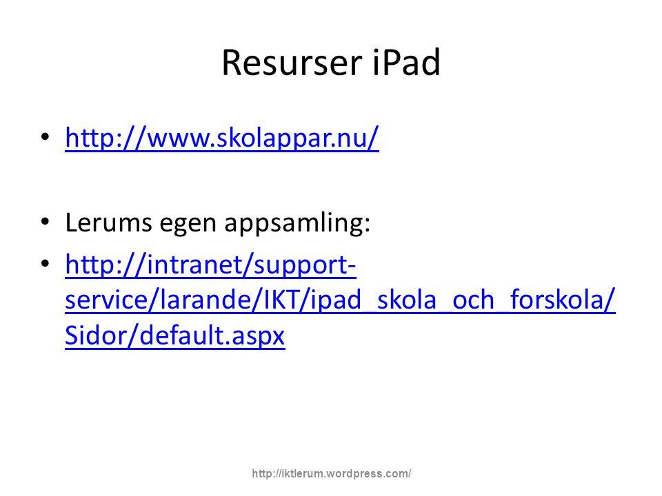 Resurser iPad http://www.skolappar.nu/ Lerums egen appsamling: http://intranet/support- service/larande/IKT/ipad_skola_och_forskola/ Sidor/default.aspx http://intranet/support- service/larande/IKT/ipad_skola_och_forskola/ Sidor/default.aspx http://iktlerum.wordpress.com/