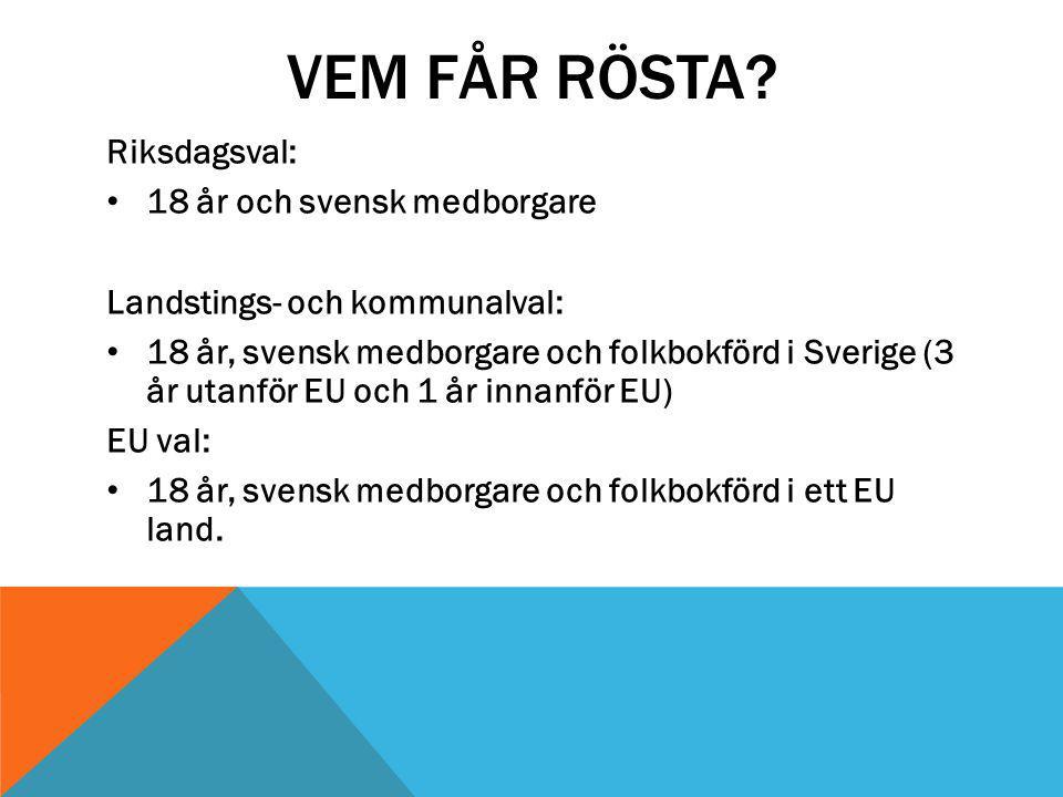 VEM FÅR RÖSTA? Riksdagsval: 18 år och svensk medborgare Landstings- och kommunalval: 18 år, svensk medborgare och folkbokförd i Sverige (3 år utanför
