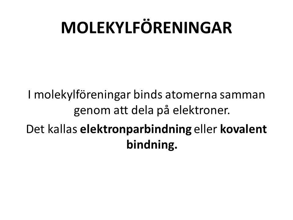 MOLEKYLFÖRENINGAR I molekylföreningar binds atomerna samman genom att dela på elektroner. Det kallas elektronparbindning eller kovalent bindning.