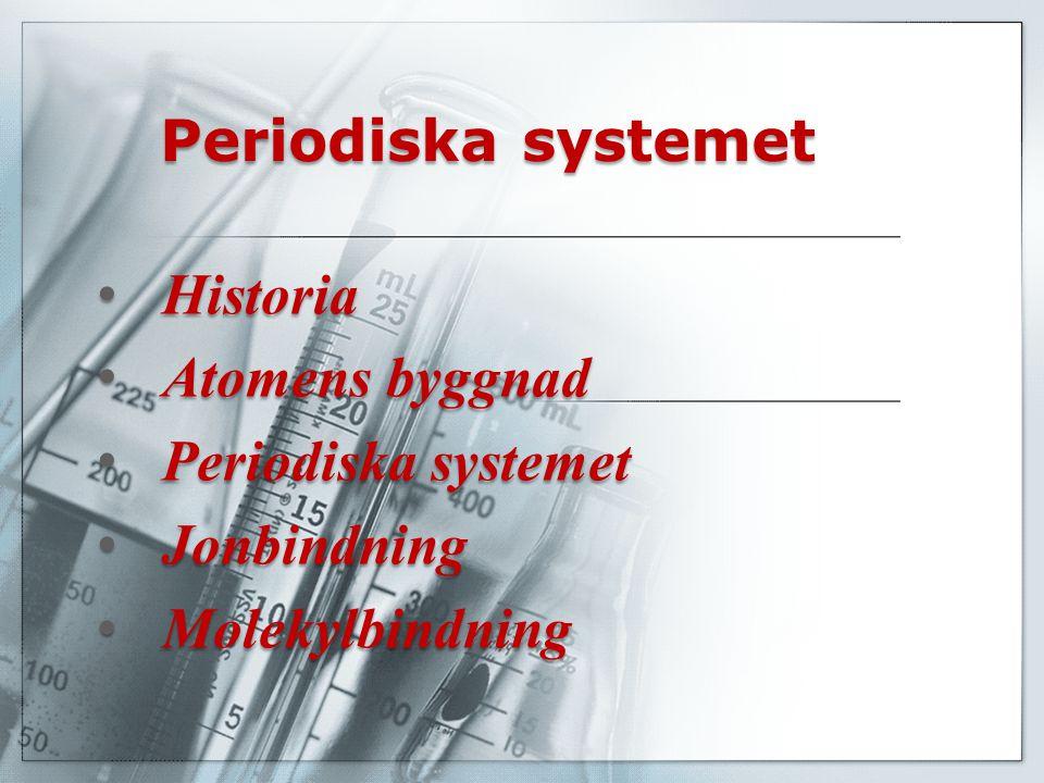 Periodiska systemet Historia Historia Atomens byggnad Atomens byggnad Periodiska systemet Periodiska systemet Jonbindning Jonbindning Molekylbindning