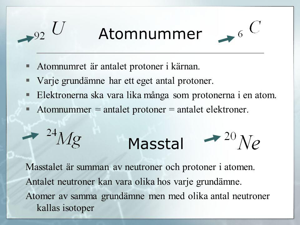 Masstal Atomnummer  Atomnumret är antalet protoner i kärnan.  Varje grundämne har ett eget antal protoner.  Elektronerna ska vara lika många som pr