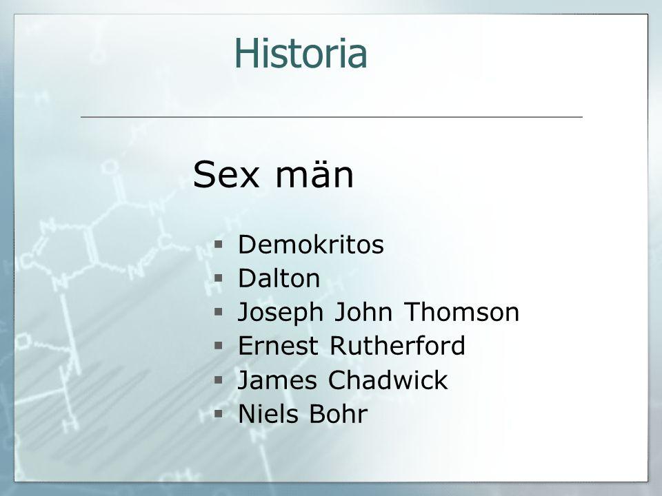 Sex män  Demokritos  Dalton  Joseph John Thomson  Ernest Rutherford  James Chadwick  Niels Bohr Historia