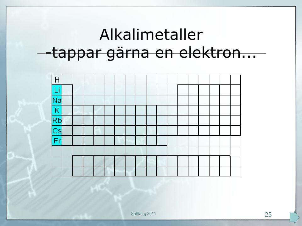 Alkalimetaller -tappar gärna en elektron... Sellberg 2011 25