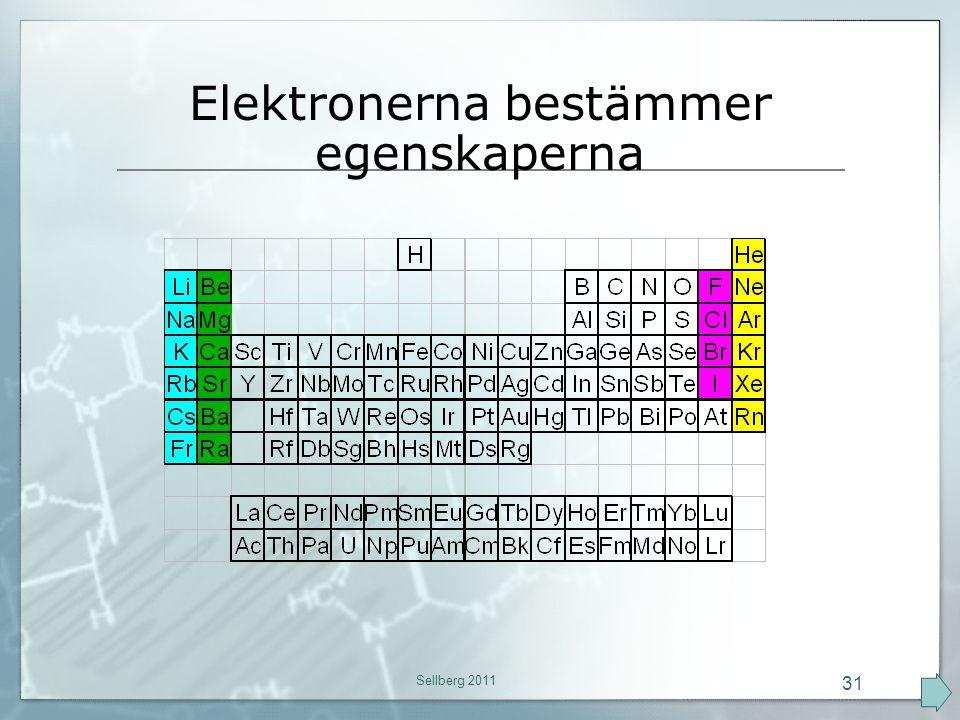 Elektronerna bestämmer egenskaperna Sellberg 2011 31