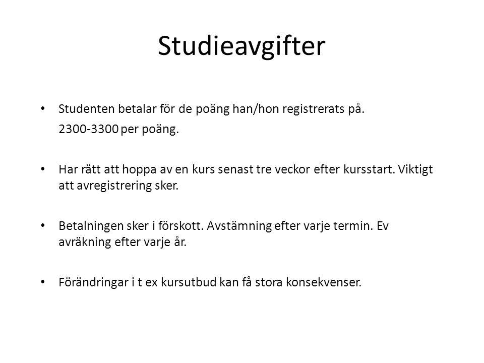 Studieavgifter Studenten betalar för de poäng han/hon registrerats på. 2300-3300 per poäng. Har rätt att hoppa av en kurs senast tre veckor efter kurs