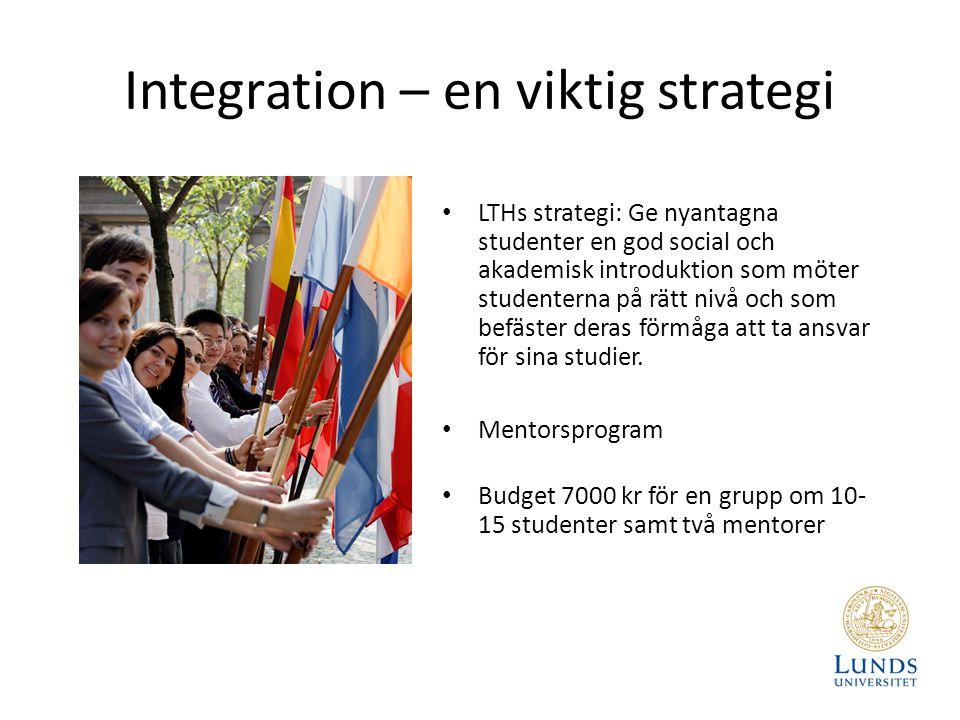 Integration – en viktig strategi LTHs strategi: Ge nyantagna studenter en god social och akademisk introduktion som möter studenterna på rätt nivå och