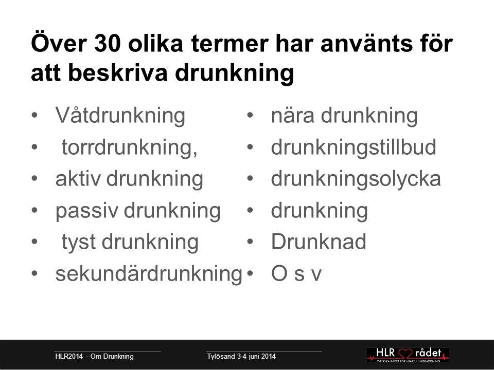 Över 30 olika termer har använts för att beskriva drunkning Våtdrunkning torrdrunkning, aktiv drunkning passiv drunkning tyst drunkning sekundärdrunkn