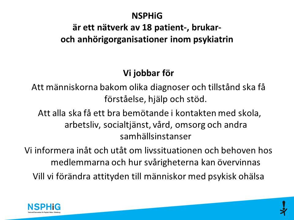 NSPHiG är ett nätverk av 18 patient-, brukar- och anhörigorganisationer inom psykiatrin Vi jobbar för Att människorna bakom olika diagnoser och tillstånd ska få förståelse, hjälp och stöd.
