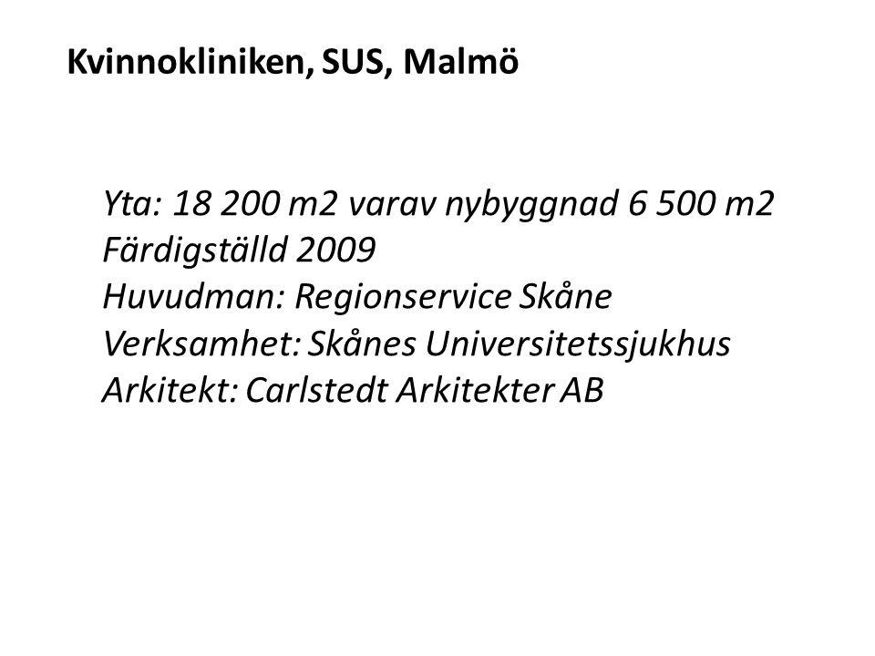 Kvinnokliniken, SUS, Malmö Yta: 18 200 m2 varav nybyggnad 6 500 m2 Färdigställd 2009 Huvudman: Regionservice Skåne Verksamhet: Skånes Universitetssjuk