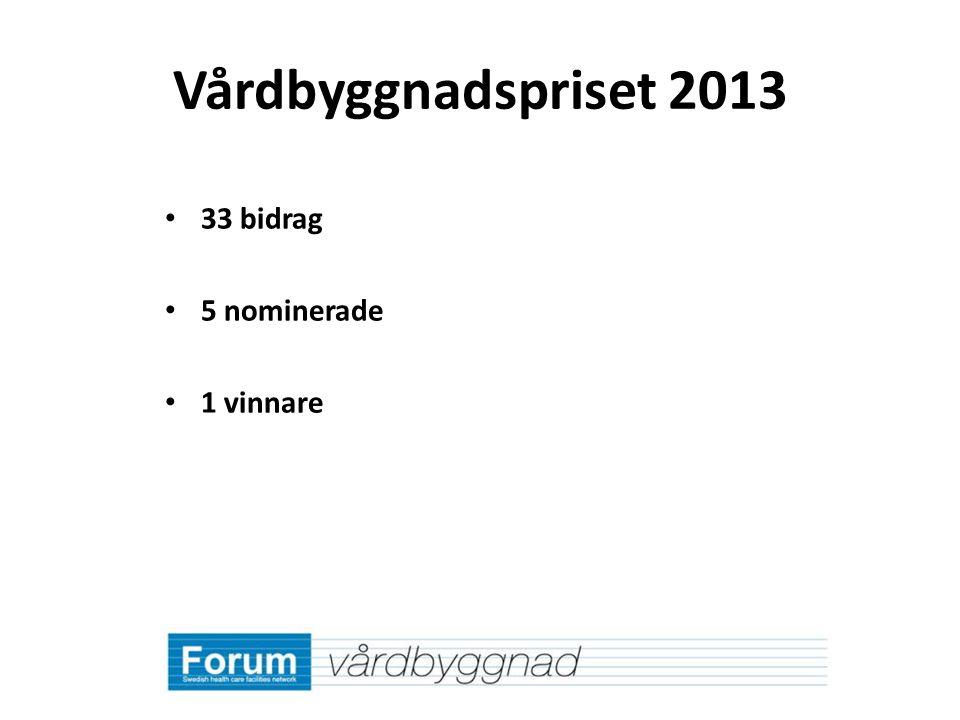Vårdbyggnadspriset 2013 33 bidrag 5 nominerade 1 vinnare
