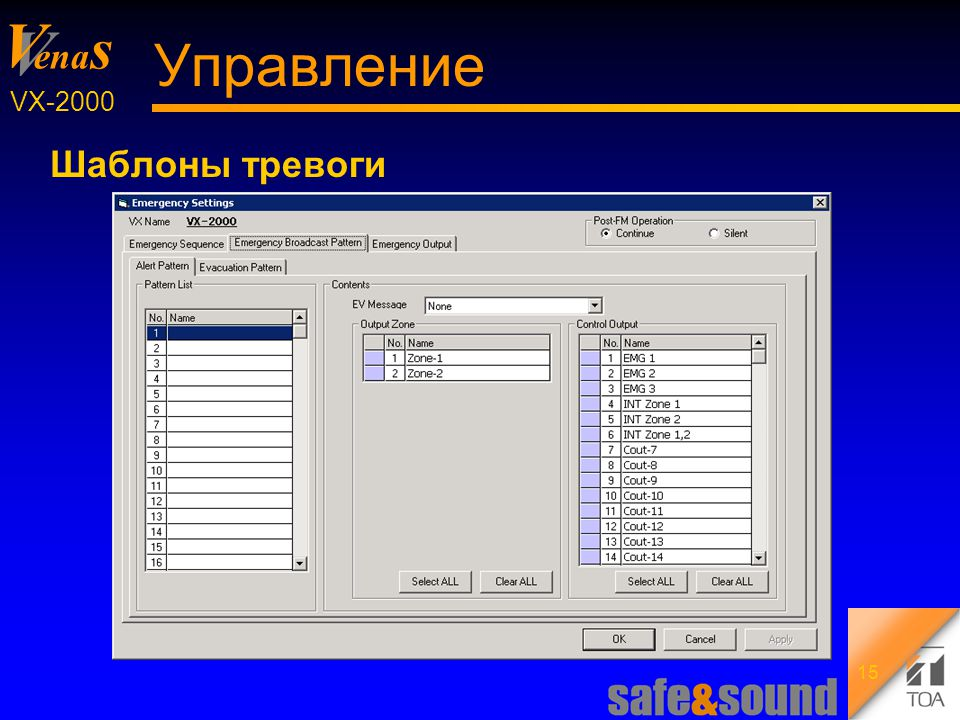 Background Design: Torsten Kranz V V ena s VX-2000 15 Управление Шаблоны тревоги