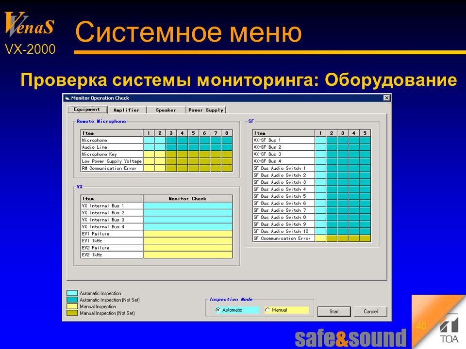Background Design: Torsten Kranz V V ena s VX-2000 40 Системное меню Проверка системы мониторинга: Оборудование