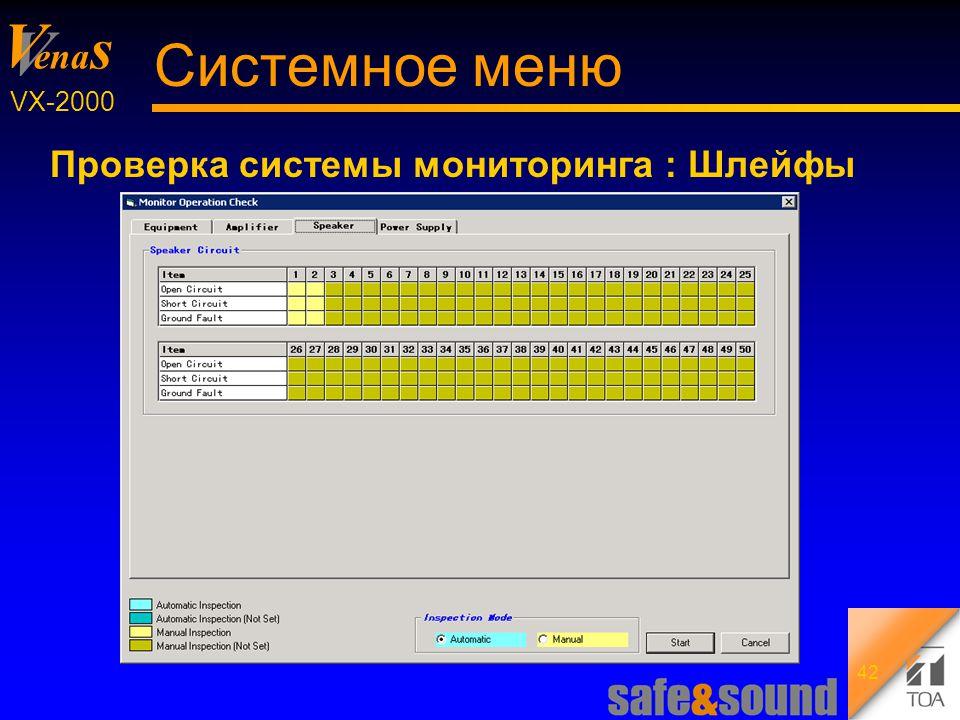 Background Design: Torsten Kranz V V ena s VX-2000 42 Системное меню Проверка системы мониторинга : Шлейфы