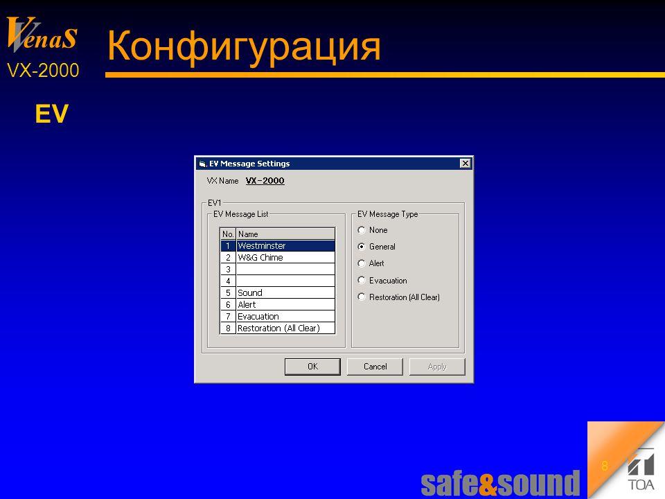 Background Design: Torsten Kranz V V ena s VX-2000 9 Конфигурация Управляющие выходы