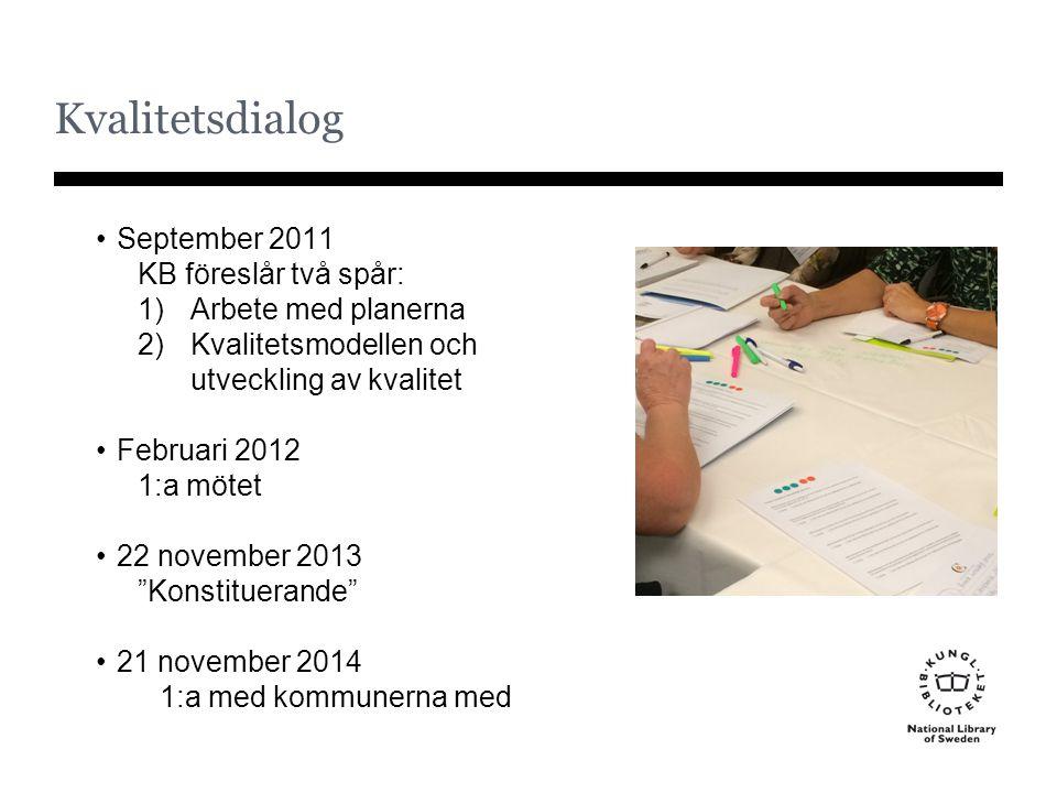 Kvalitetsdialog September 2011 KB föreslår två spår: 1)Arbete med planerna 2)Kvalitetsmodellen och utveckling av kvalitet Februari 2012 1:a mötet 22 n