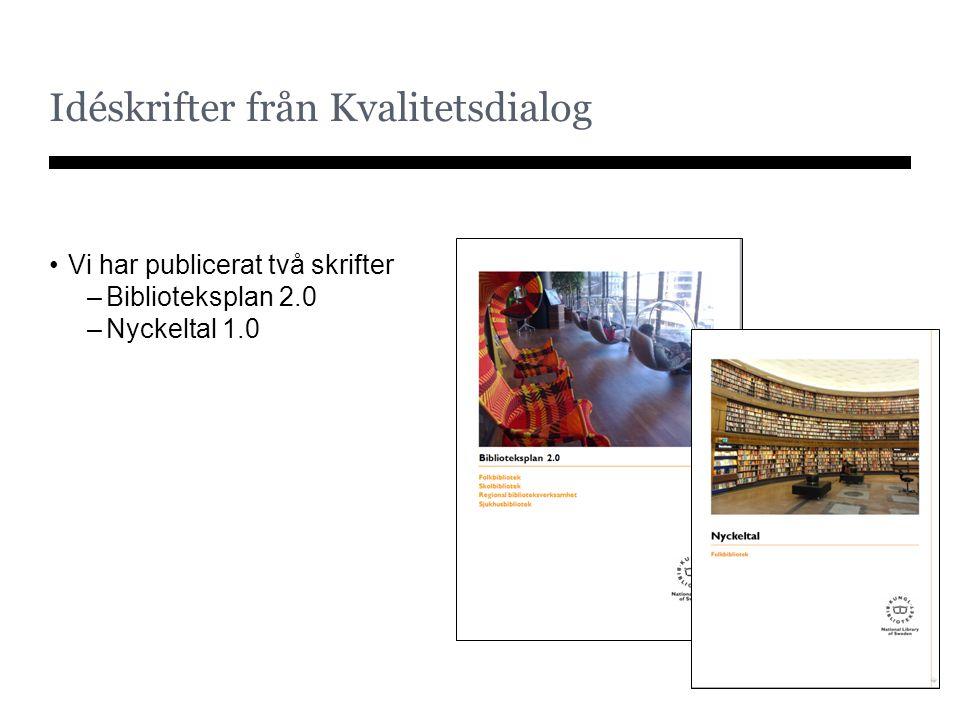 Idéskrifter från Kvalitetsdialog Vi har publicerat två skrifter –Biblioteksplan 2.0 –Nyckeltal 1.0
