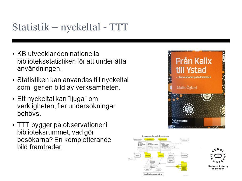 Statistik – nyckeltal - TTT KB utvecklar den nationella biblioteksstatistiken för att underlätta användningen. Statistiken kan användas till nyckeltal