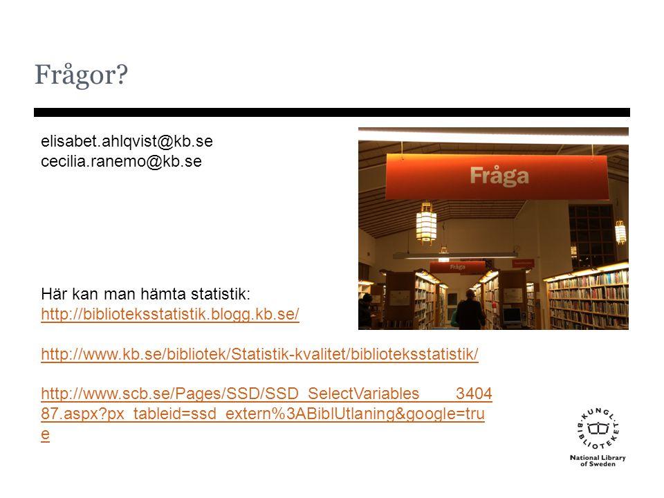 Frågor? elisabet.ahlqvist@kb.se cecilia.ranemo@kb.se Här kan man hämta statistik: http://biblioteksstatistik.blogg.kb.se/ http://www.kb.se/bibliotek/S