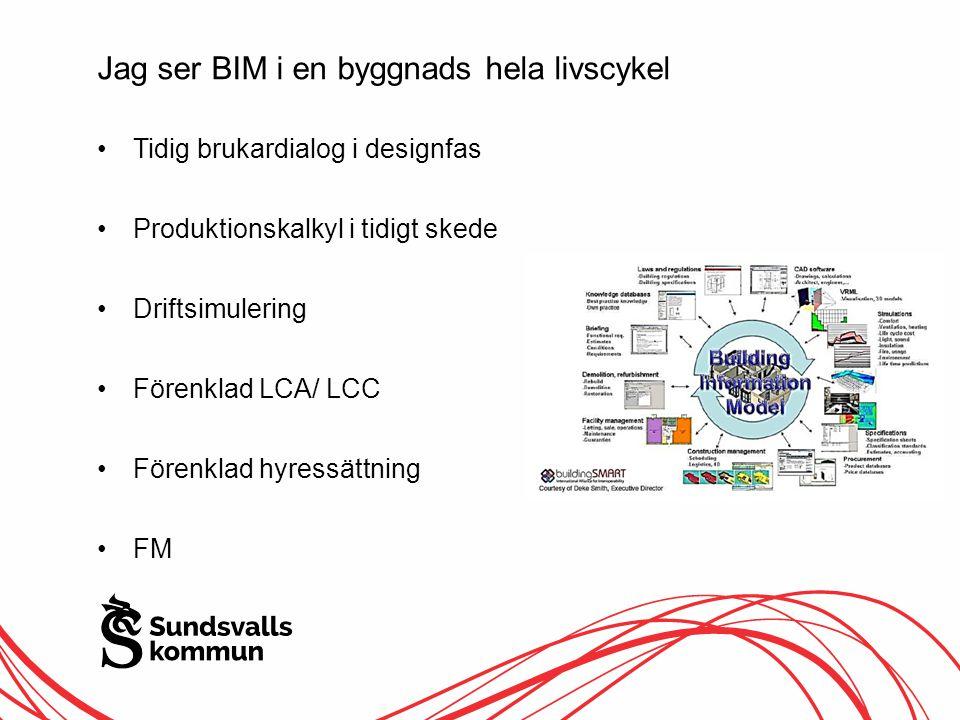 Jag ser BIM i en byggnads hela livscykel Tidig brukardialog i designfas Produktionskalkyl i tidigt skede Driftsimulering Förenklad LCA/ LCC Förenklad hyressättning FM