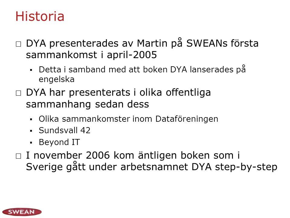 Historia DYA presenterades av Martin på SWEANs första sammankomst i april-2005  Detta i samband med att boken DYA lanserades på engelska DYA har presenterats i olika offentliga sammanhang sedan dess  Olika sammankomster inom Dataföreningen  Sundsvall 42  Beyond IT I november 2006 kom äntligen boken som i Sverige gått under arbetsnamnet DYA step-by-step