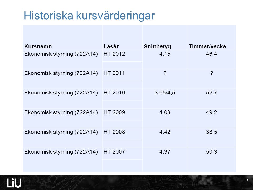 Helhetsomdöme om kursen 2010 Ø = 4,5