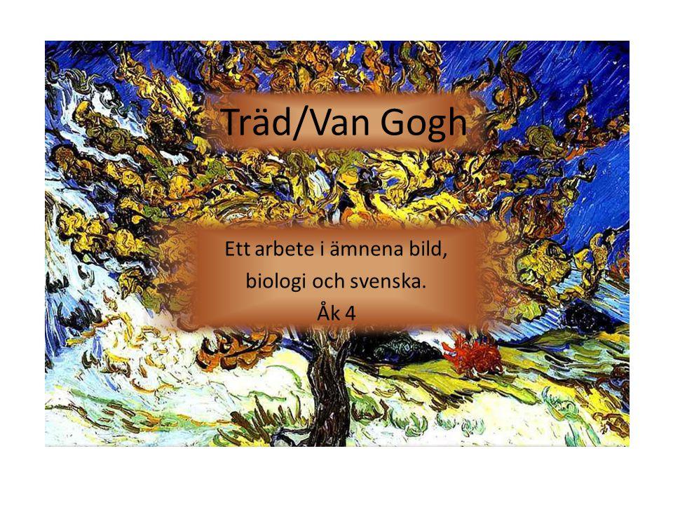 Syfte Under sju veckor kommer vi att arbeta med temat träd och konstnären Van Gogh.