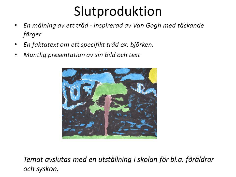 Slutproduktion En målning av ett träd - inspirerad av Van Gogh med täckande färger En faktatext om ett specifikt träd ex. björken. Muntlig presentatio