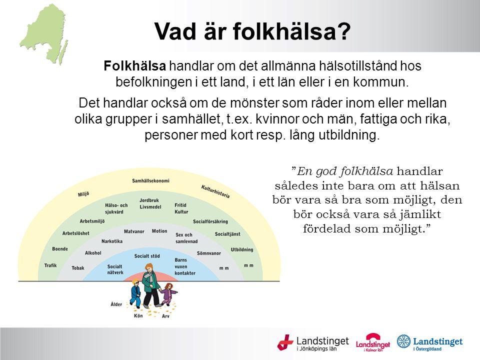 Folkhälsa handlar om det allmänna hälsotillstånd hos befolkningen i ett land, i ett län eller i en kommun. Det handlar också om de mönster som råder i