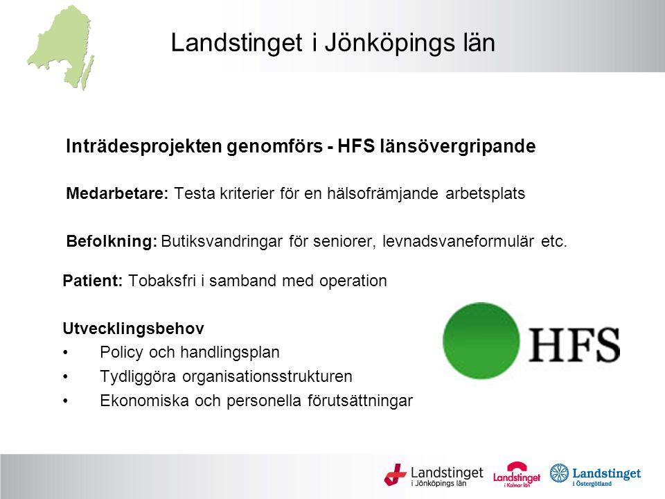 Landstinget i Jönköpings län Inträdesprojekten genomförs - HFS länsövergripande Medarbetare: Testa kriterier för en hälsofrämjande arbetsplats Befolkning: Butiksvandringar för seniorer, levnadsvaneformulär etc.