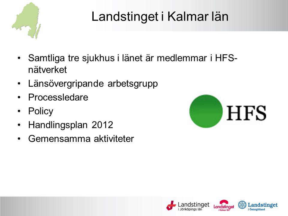 Landstinget i Kalmar län Samtliga tre sjukhus i länet är medlemmar i HFS- nätverket Länsövergripande arbetsgrupp Processledare Policy Handlingsplan 2012 Gemensamma aktiviteter