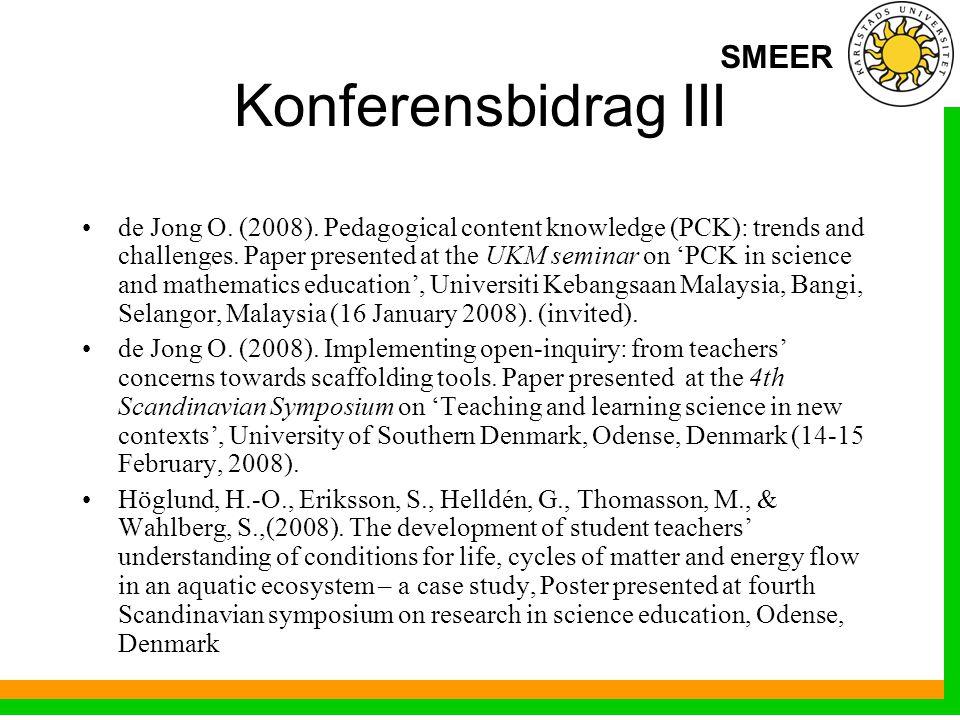 SMEER Konferensbidrag III de Jong O. (2008).