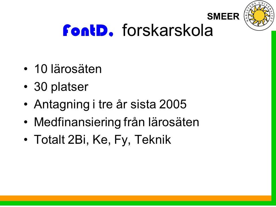 SMEER FontD, forskarskola 10 lärosäten 30 platser Antagning i tre år sista 2005 Medfinansiering från lärosäten Totalt 2Bi, Ke, Fy, Teknik