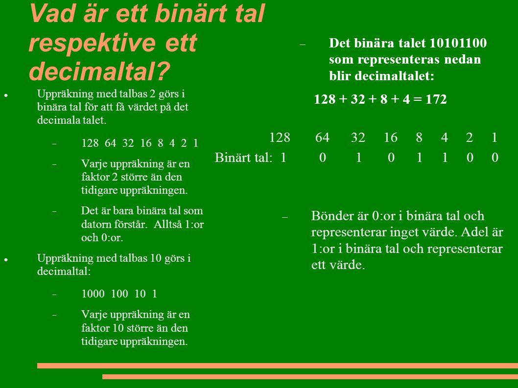 Vad är ett binärt tal respektive ett decimaltal? Uppräkning med talbas 2 görs i binära tal för att få värdet på det decimala talet.  128 64 32 16 8 4