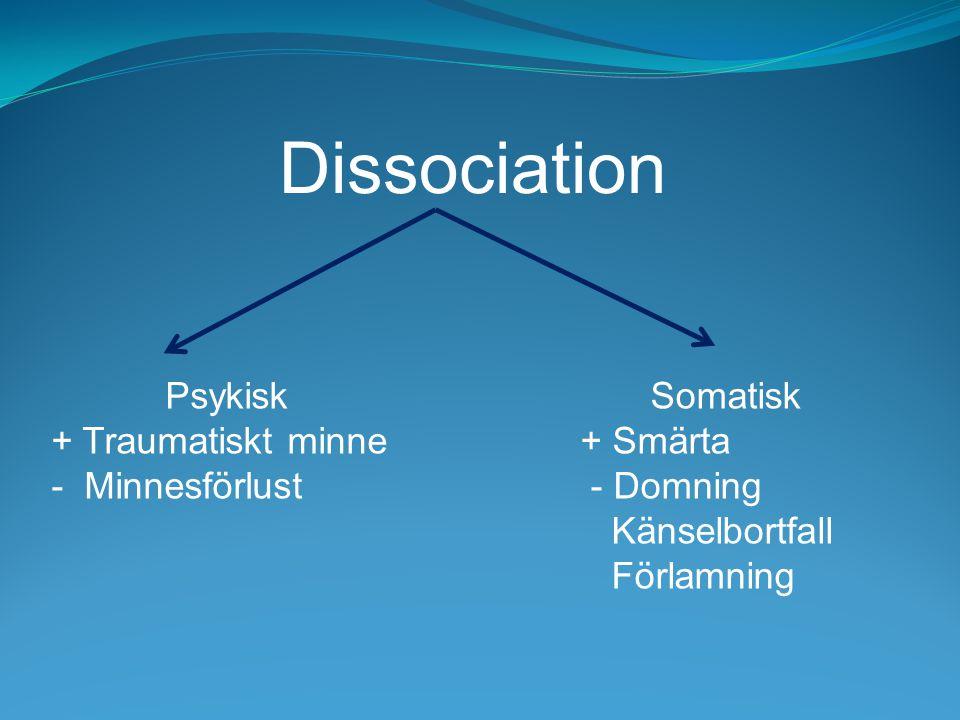 Psykisk + Traumatiskt minne - Minnesförlust Somatisk + Smärta - Domning Känselbortfall Förlamning