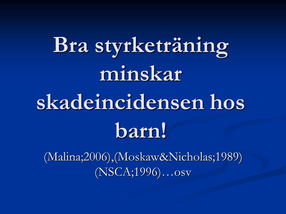 Bra styrketräning minskar skadeincidensen hos barn! (Malina;2006),(Moskaw&Nicholas;1989) (NSCA;1996)…osv