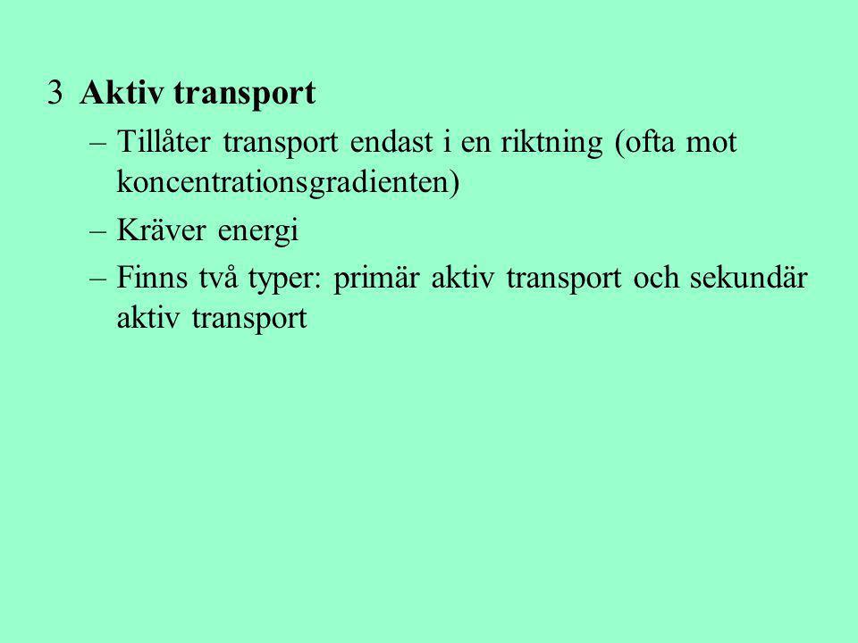 3Aktiv transport –Tillåter transport endast i en riktning (ofta mot koncentrationsgradienten) –Kräver energi –Finns två typer: primär aktiv transport