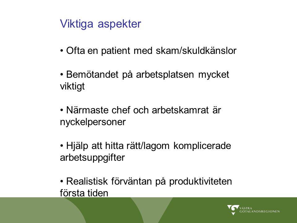 Viktiga aspekter Ofta en patient med skam/skuldkänslor Bemötandet på arbetsplatsen mycket viktigt Närmaste chef och arbetskamrat är nyckelpersoner Hjä
