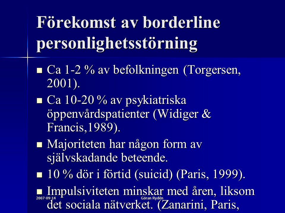 2007-09-14Göran Rydén Förekomst av borderline personlighetsstörning Ca 1-2 % av befolkningen (Torgersen, 2001). Ca 1-2 % av befolkningen (Torgersen, 2