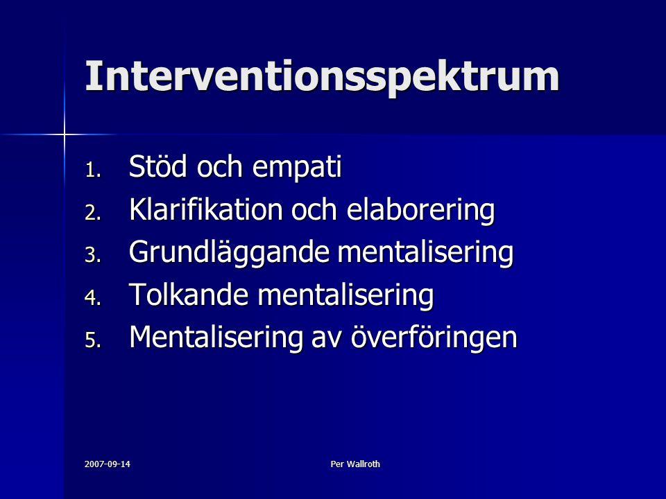 2007-09-14Per Wallroth Interventionsspektrum 1. Stöd och empati 2. Klarifikation och elaborering 3. Grundläggande mentalisering 4. Tolkande mentaliser