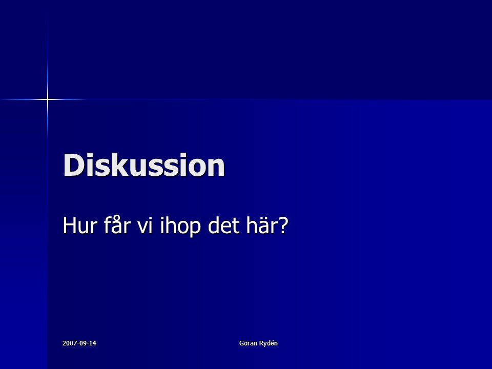 2007-09-14 Göran Rydén Diskussion Hur får vi ihop det här?