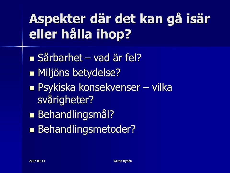 2007-09-14Göran Rydén Aspekter där det kan gå isär eller hålla ihop.